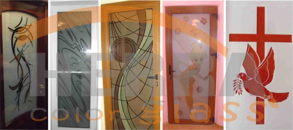 Modele sticla sablata si colorata