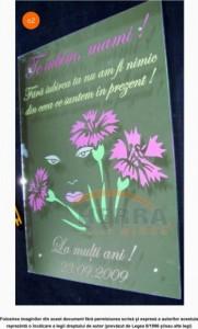 Oglinda sablata si colorata cu model mesaj si model floral