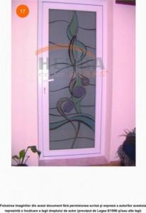 Sticla sablata float 4 mm cu model color pentru usa interior aluminiu